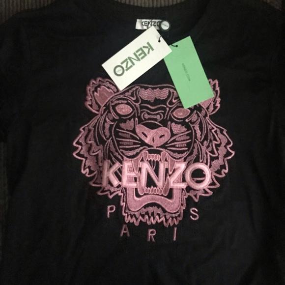 5a5a998fe Kenzo Tops   Embroidered Teeshirt Tshirt Black Pink Lxl   Poshmark